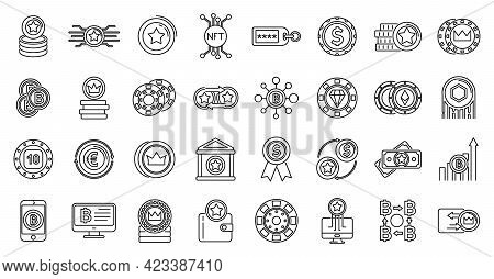 Tokens Coins Icons Set. Outline Set Of Tokens Coins Vector Icons For Web Design Isolated On White Ba