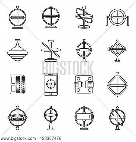 Gyroscope Instrument Icons Set. Outline Set Of Gyroscope Instrument Vector Icons For Web Design Isol
