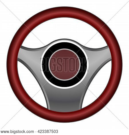 Car Steering Wheel Icon. Cartoon Of Car Steering Wheel Vector Icon For Web Design Isolated On White