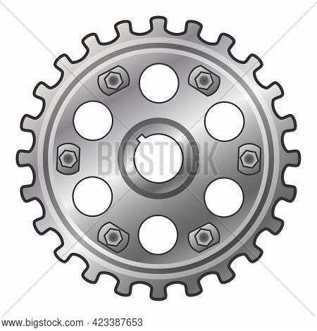 Car Motor Gear Icon. Cartoon Of Car Motor Gear Vector Icon For Web Design Isolated On White Backgrou