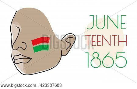 Juneteenth Day Concept Vector In Boho Style. African Face With Red, Green Stripes