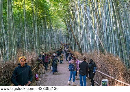 Kyoto, Japan - 12.02.2017: People Walking In The Aisle Of Bamboo Forest, The Arashiyama Bamboo Grove