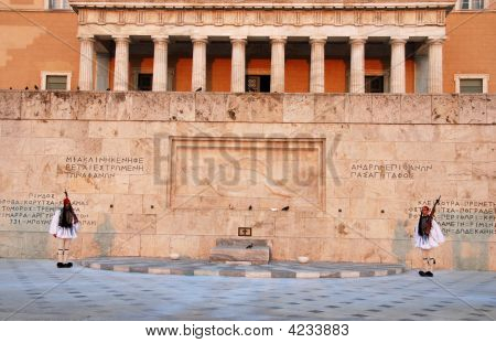 Greek Parliament Building Late In  Evening