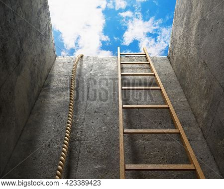 View From Below In A Deep Pit With Two Solution Alternatives - A Rope And A Ladder, Escape Or Salvat