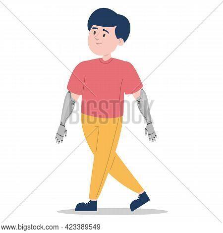 Boy With Prosthetic Bionic Arm Vector Isolated