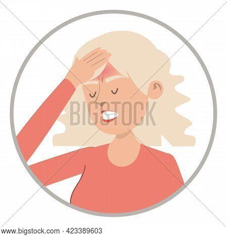 Woman Feel Headache Vector Isolated. Pain In Head