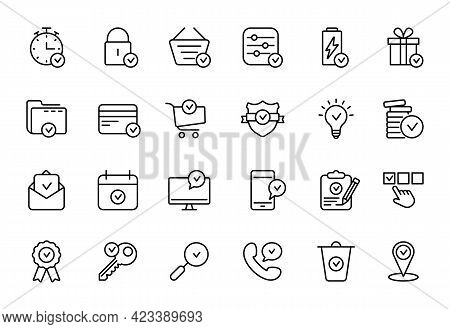 Set Of Approve Line Icons. Check Marks, Ticks Linear Pictogram. Contains Such Icons As Check List, T