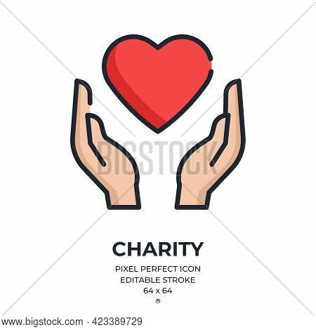 Charity Concept. Hands With A Heart Symbol Editable Stroke Outline Icon Isolated On White Background