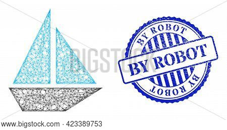 Vector Crossing Mesh Yacht Frame, And By Robot Blue Rosette Dirty Stamp Seal. Wire Frame Network Ill