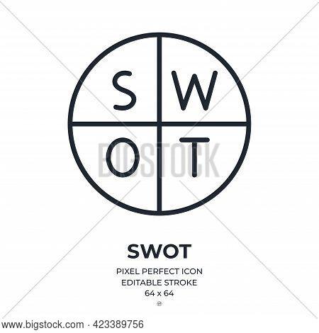 Swot Analysis Editable Stroke Outline Icon Isolated On White Background Flat Vector Illustration. Pi