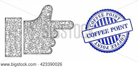 Vector Net Mesh Index Finger Wireframe, And Coffee Point Blue Rosette Unclean Stamp Seal. Hatched Ca