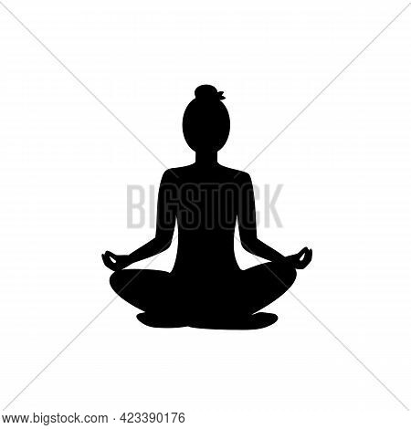 Woman Practices Meditation In Lotus Position, Black Silhouette On White Background. Slender Girl Doi