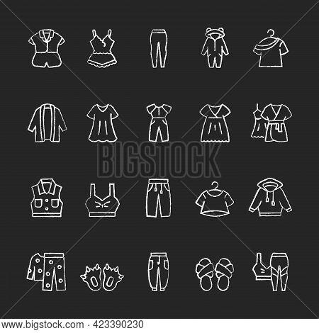 Comfortable Homewear And Sleepwear Chalk White Icons Set On Dark Background. Female Nightwear. Male