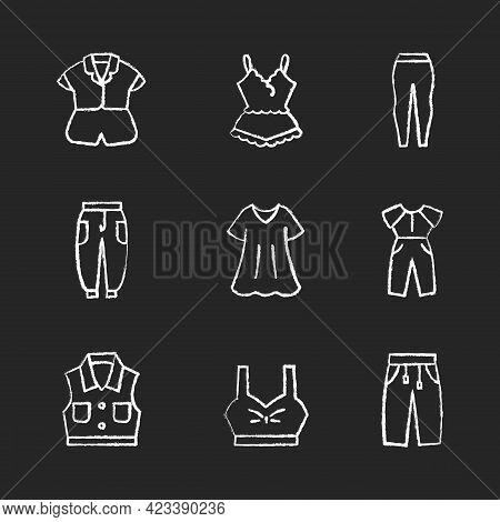 Comfortable Homewear Chalk White Icons Set On Dark Background. Silk Nightwear. Leggings And Joggers.