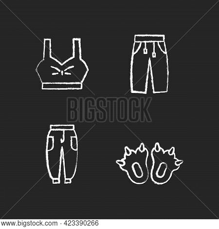 Comfortable Clothes For Home Chalk White Icons Set On Dark Background. Bra Top. Sweatpants For Women
