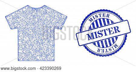Vector Net Male T-shirt Carcass, And Mister Blue Rosette Textured Stamp Seal. Linear Carcass Net Ima