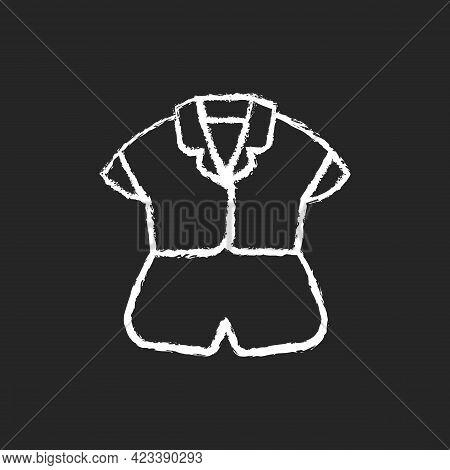 Silk Top And Shorts Chalk White Icon On Dark Background. Trendy Sleepwear For Women. Elegant Nightwe