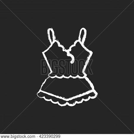 Lace Pyjamas Chalk White Icon On Dark Background. Elegant Nightgown For Ladies. Trendy Sleepwear For