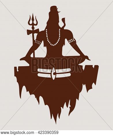 Sketch Of Lord Shiva Outline And Silhouette Editable Illustration