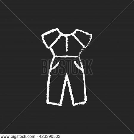 Jumpsuit Chalk White Icon On Dark Background. Female Outfit. Women Sportswear. Trendy Clothes For La