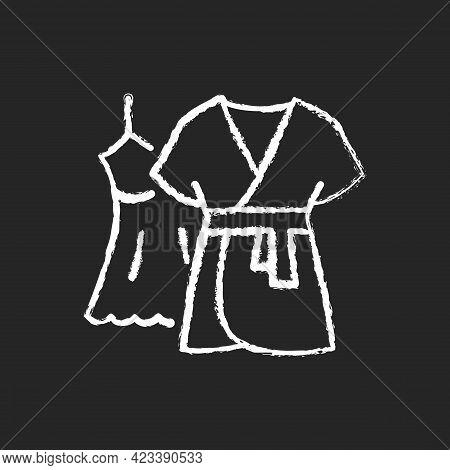 Mini Gown With Robe Chalk White Icon On Dark Background. Female Sleepwear. Women Nightwear. Ladies L