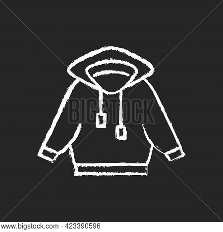 Home Outfit With Hoodie Chalk White Icon On Dark Background. Hooded Jacket. Sporty Outfit. Unisex Sp