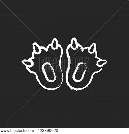 Funny Slippers Chalk White Icon On Dark Background. Footwear For Halloween Shoes. Cute Children Foot