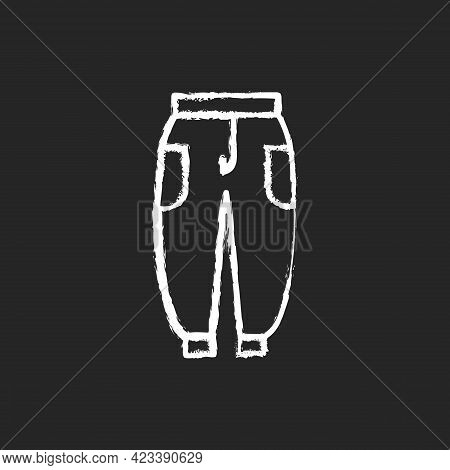 Joggers Chalk White Icon On Dark Background. Trackpants For Women. Sweatpants For Men. Unisex Trouse