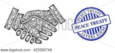 Vector Net Handshake Carcass, And Peace Treaty Blue Rosette Rubber Stamp. Crossed Carcass Net Illust