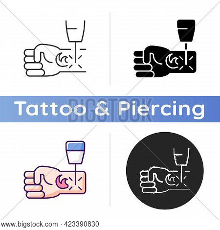 Tattoo Laser Removal Icon. Special Human Body Operations. Removing Injected Ink From Skin. Dangerous