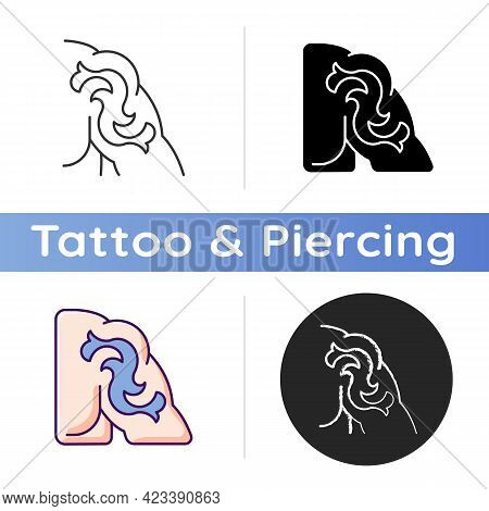 Shoulder Tattoo Icon. Painting Human Body. Place For Creating Picture On Skin. Painful Under Skin In