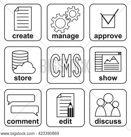 Black And White Cms Functions Infografic Poster