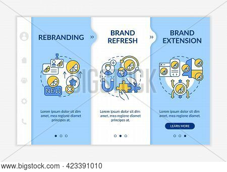 Brand Identity Change Onboarding Vector Template. Responsive Mobile Website With Icons. Web Page Wal