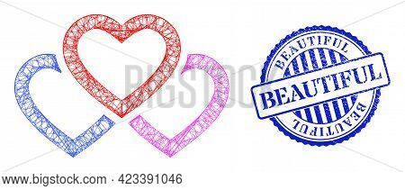 Vector Network Triple Love Hearts Carcass, And Beautiful Blue Rosette Corroded Stamp Seal. Crossed C