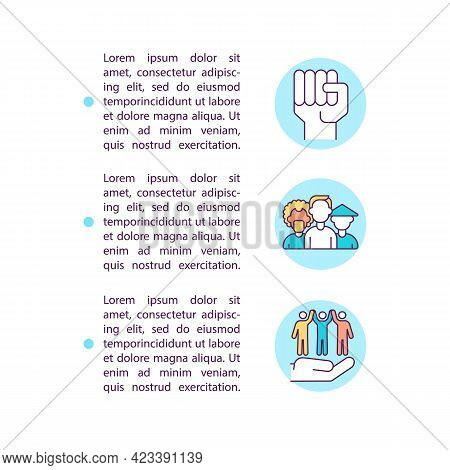 Human Rights And Self Determination Concept Line Icons With Text. Ppt Page Vector Template With Copy