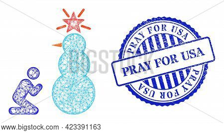 Vector Net Pray To Holy Snowman Frame, And Pray For Usa Blue Rosette Rubber Stamp Seal. Hatched Fram