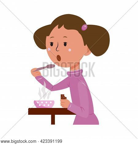 Little Cute Girl Eats Her Food With A Spoon. Daily Routine Of The Day. Cartoon Vector Illustration