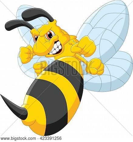 Angry Bee Cartoon Isolated On White Background