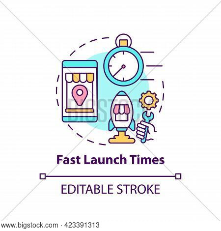 Fast Launch Times Concept Icon. Online Marketplace Benefit Abstract Idea Thin Line Illustration. New