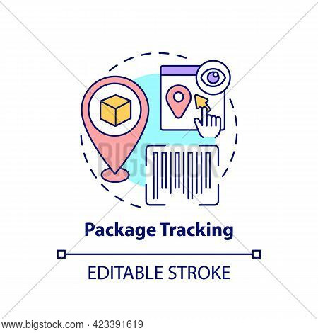 Package Tracking Concept Icon. Global Marketplace Abstract Idea Thin Line Illustration. Worldwide Co
