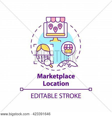 Marketplace Location Concept Icon. Ecommerce Site Country Abstract Idea Thin Line Illustration. Expa