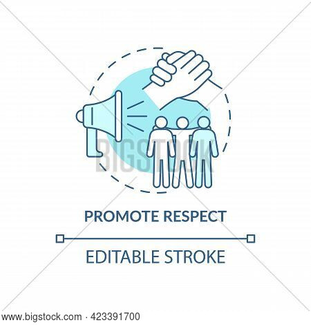 Promote Respect Concept Icon. Fighting Racism Abstract Idea Thin Line Illustration. Equal Opportunit