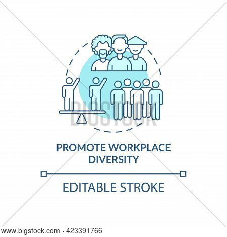 Promote Workplace Diversity Concept Icon. Racism At Work Abstract Idea Thin Line Illustration. Diver