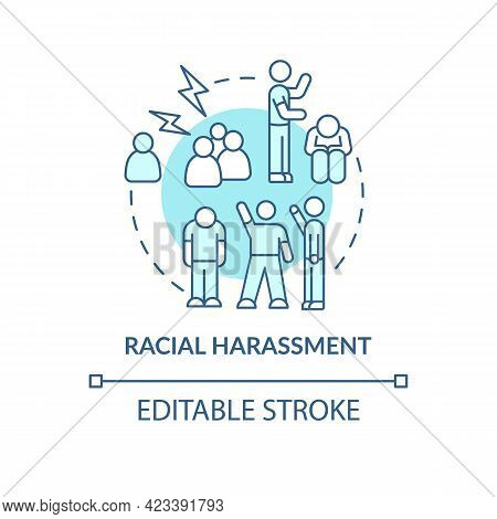 Racial Harassment Concept Icon. Racism In Social Situation Abstract Idea Thin Line Illustration. Exp