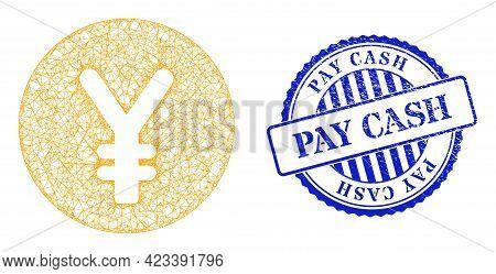 Vector Net Mesh Yen Coin Frame, And Pay Cash Blue Rosette Unclean Stamp Seal. Wire Frame Net Illustr
