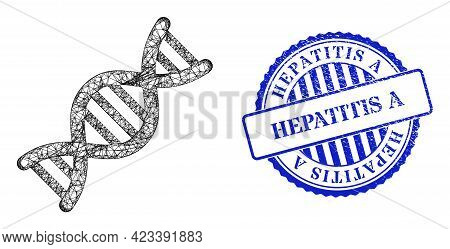 Vector Network Genome Molecule Frame, And Hepatitis A Blue Rosette Scratched Stamp Seal. Wire Frame