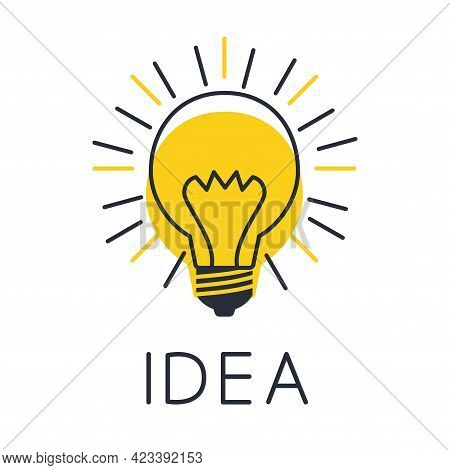 Light Bulb With Sun Rays. Idea Sign, Solution, Thinking, Concept. Lighting Electric Lamp. Electricit