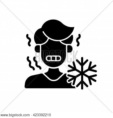Chills Black Glyph Icon. Man Shiver From Cold. Person In Cool Weather. Human Freezing In Low Tempera