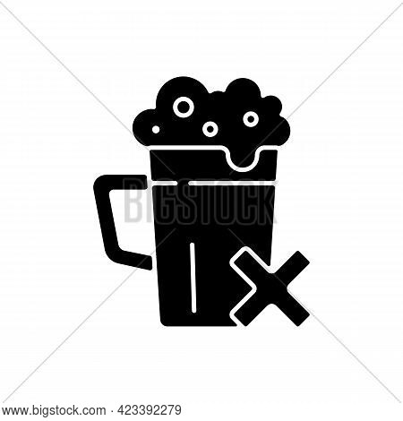 Avoid Alcohol Black Glyph Icon. Diet Restriction For Alcoholic Beverages. Stop Drinking, Alcoholism
