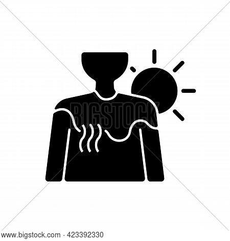 Sunburn Black Glyph Icon. Person Under Sunlight Exposure. Inflammation During Summer From Heatstroke